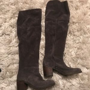 Lucky Brand Grey Suede over the Knee boots size 9